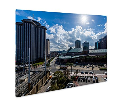 Ashley Giclee Metal Panel Print, Downtown New Orleans Louisiana On Canal Street Aerial, Wall Art Decor, Floating Frame, Ready to Hang 8x10, - To Canal Bourbon Street Street