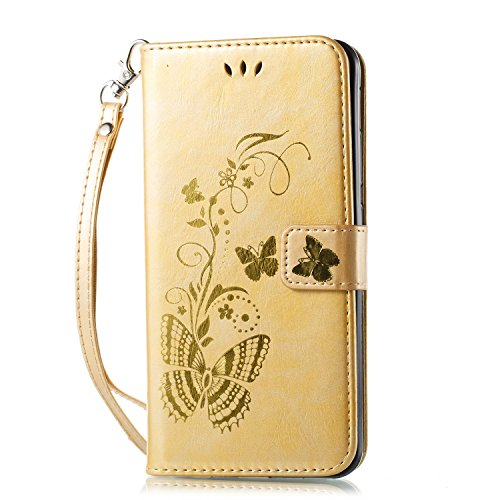 Meet de [ Huawei Honor 8 Pro ] Coque Bronzante Papillon PU Cuir Flip Housse Étui Cover Case Wallet Portefeuille Support avec Porte-cartes pour Huawei Honor 8 Pro - Or