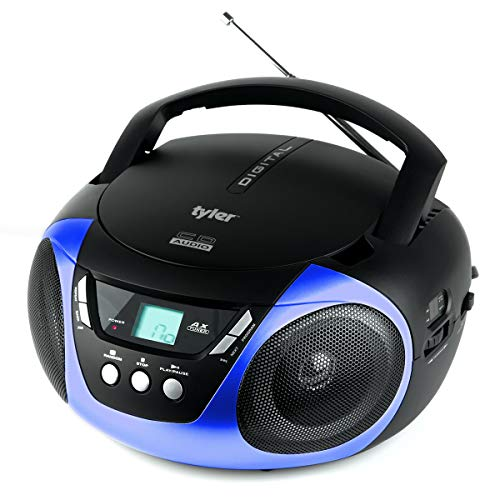Tyler TAU101-BL Portable Sport Stereo CD Player - Single Disc, Speakers, AM/FM Radio, Headphone Jack, Playback Function and Aux for iPod, Walkman, MP3, Compact Size and Battery Power, Blue (Boombox Cd Ipod)