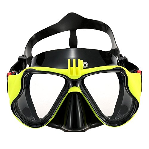 - Tempered Glass Diving Mask Goggles Adult Scuba Snorkeling Swimming Diving Mask with Camera Mount