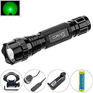 Comunite Portable Cree 1000LM LED Flashlight Hunting Fishing Light Torch Set with Scope Gun Mount and Remote Pressure Switch (18650 Rechargeable Battery 3200mAh and Charger Included)