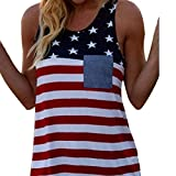 Axchongery Blouse,Women Summer Sexy Independence Day Tank Printed Crop Tops Camisole (Red, L)