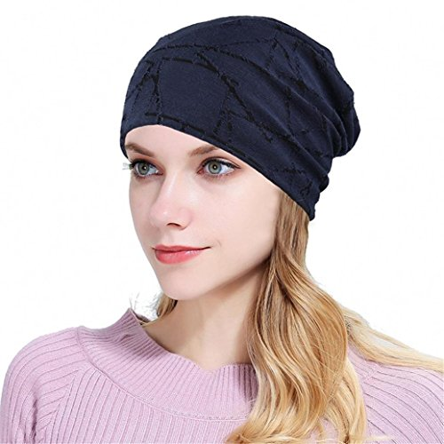 Fheaven (TM) Women's Fashion Caps Lightweight Cotton Slouchy Beanies Chemo Cancer Hair Loss (Navy)