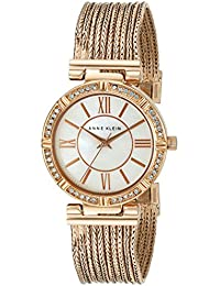 Women's AK/2144MPRG Swarovski Crystal Accented Rose Gold-Tone Chain Bracelet Watch