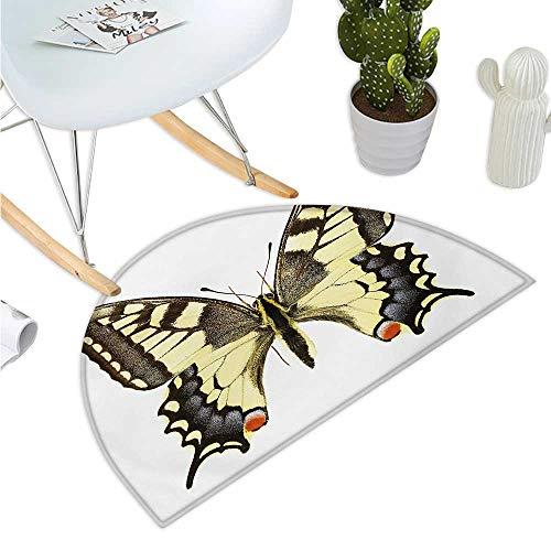 (Swallowtail Butterfly Semicircle Doormat Yellow Papilio Machaon Old World Swallowtail Wildlife Biology Halfmoon doormats H 15.7