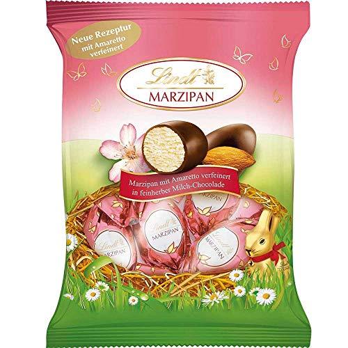 Lindt & Sprüngli Marzipan-Amaretto-Eier im Frühlingsbeutel, Doppeldreh, Ideal als Mitbringsel oder zum selber genießen, 85 g