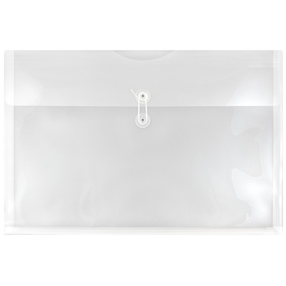 JAM PAPER Plastic Envelopes with Button & String Tie Closure - Large Booklet - 12 x 18 - Clear - 12/Pack