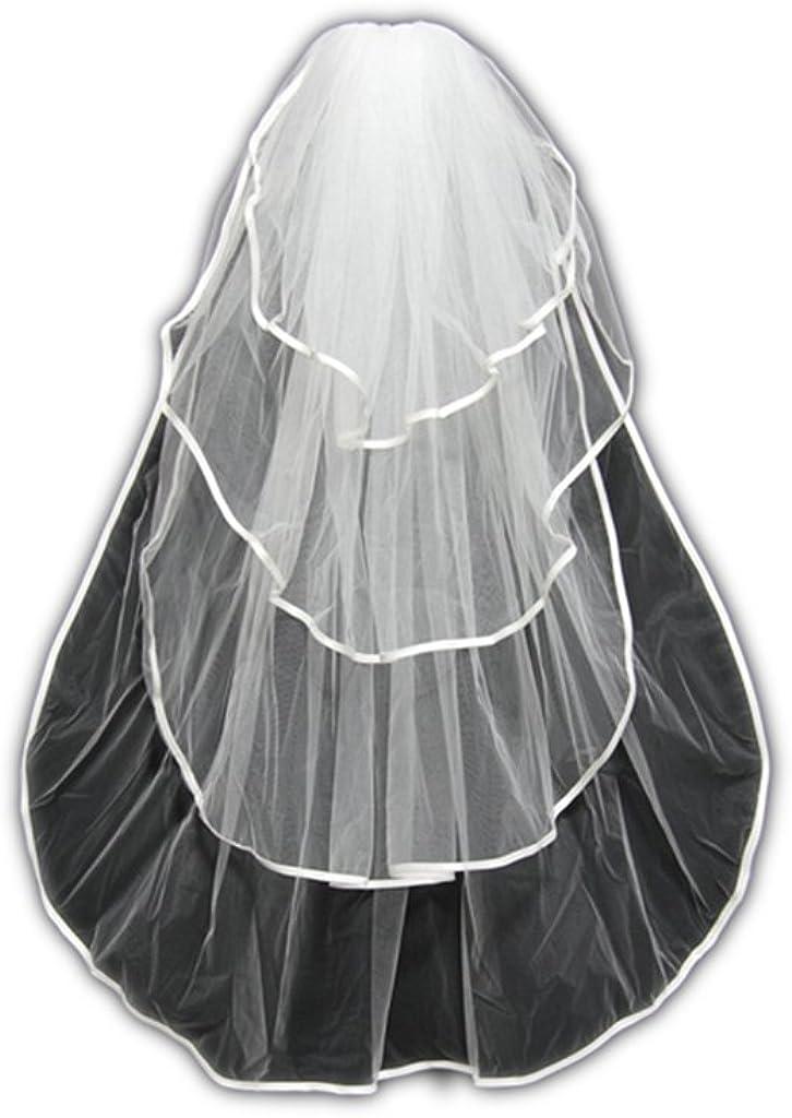 MLT 4 Layers Wedding Bridal Veil Elbow Length Satin Edge with Comb