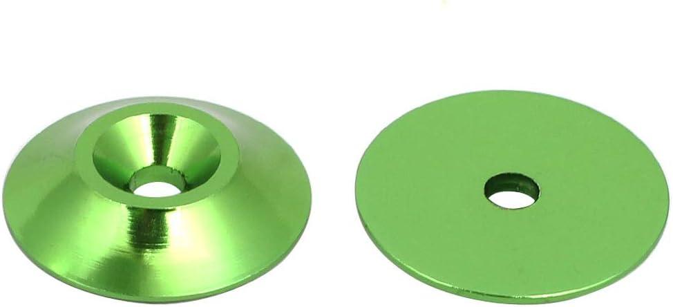 sourcing map Arandela Parachoques en Forma de Cono Compartimento del Motor de aleaci/ón de Aluminio M3 Verde 15 Piezas