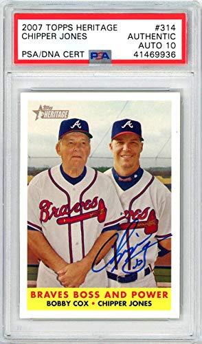 Chipper Jones Autographed 2007 Topps Heritage Card #314 Atlanta Braves Gem Mint 10 PSA/DNA #41469936