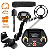 RM RICOMAX Metal Detector - Gold Detector [Disc & Tone & P/P Modes] Metal Detector for Adults & Kids with View Meter & Headphones Jack Metal Detector Waterproof with High-Accuracy Easy to Use GC-1023