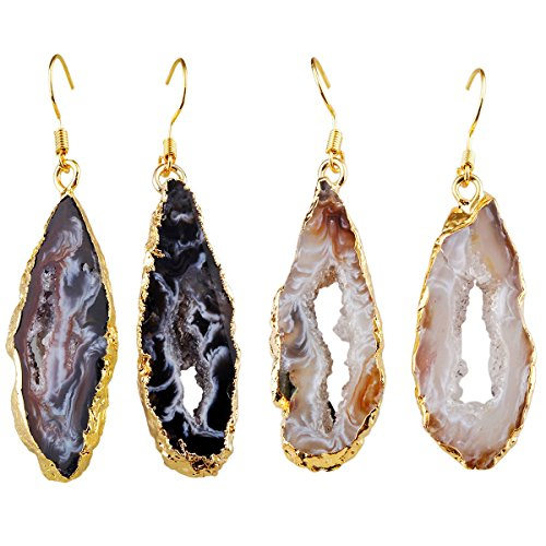 SUNYIK Natural Quartz Geode Agate Slice Dangle Earrings,Dark/Light Color Crystal Druzy Pack of 2