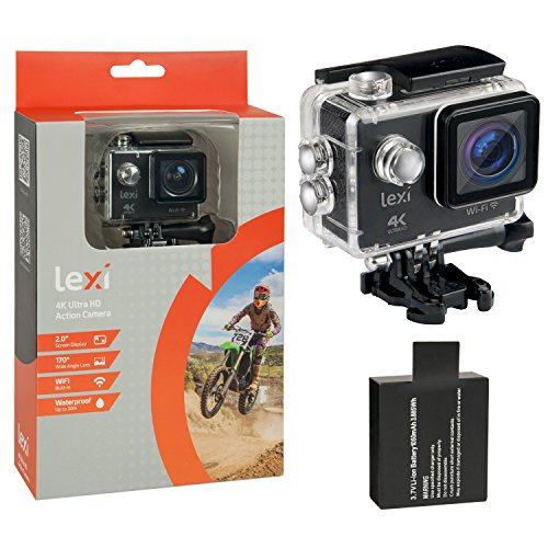 """Underwater Waterproof Action Camera - HD vlogging digital video recording sports cam with WiFi, 2.0"""" LCD Screen,170° Wide Angle Lens, 1050 mAh Rechargeable Battery and Mounting Accessories Kit by lexi"""