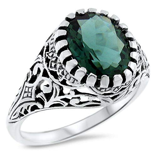1.6 CT Green Quartz Antique Filigree Style 925 Sterling Silver Ring SZ 8.75 KN-1136