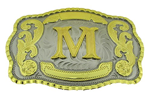 [Initial Letters Western Style Cowboy Rodeo Gold Large Belt Buckles (Large Square, M LETTER)] (Hand Belt Buckle)