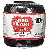 Coats Crochet & Floss Red Heart Classic Crochet, Thread Size 10, Black