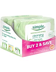 Simple Cleansing Facial Wipes, Kind to Skin 25 Count...