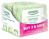 Simple Cleansing Facial Wipes, Kind to Skin 25 Count, Twin Pack