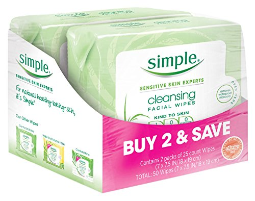 Simple Cleansing Facial Wipes, Kind to Skin 25 Count, Twin P