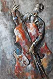 Empire Art Direct ''The Bassist'' Mixed Media Hand Painted Iron Wall Sculpture by Primo