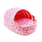 Spring fever Plush Slipper Washable Cushion Pet Bed Small Cat Dog Play House A-Pink S(14.213.89.8 inch up to 3kg)