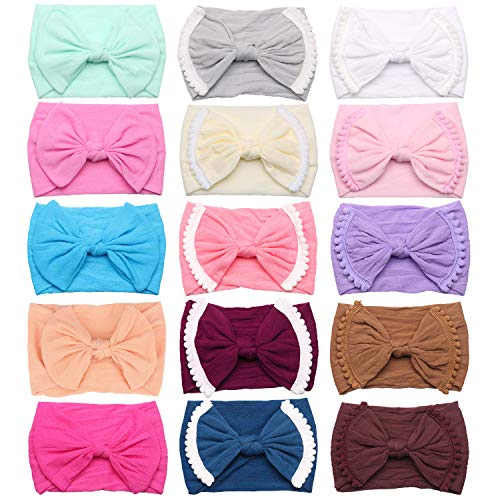- Baby Girls Headbands with Bows, Funtopia 15pcs Wide Trimmed and Classic Knot Headbands for Newborns Infants Toddlers Kids, Super Stretchy and Soft Nylon Knotted Hairbands Head Wraps with Solid Colors
