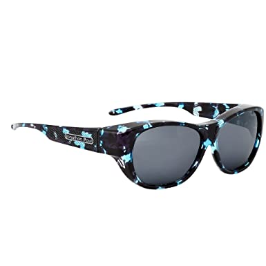 1085a30c5f3fd Jonathan Paul Allure Polarized Fitover Sunglasses in Blue Demi with Grey  Lensses