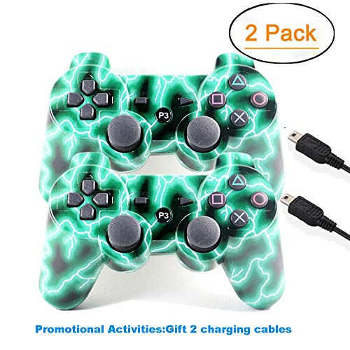 [2 Pack] Zhuoyoungs Wireless Double Vibration Game Controller Bluetooth Gamepad Remote for PS3 Playstation 3 [Gift 2 Charging-Cable] (Green