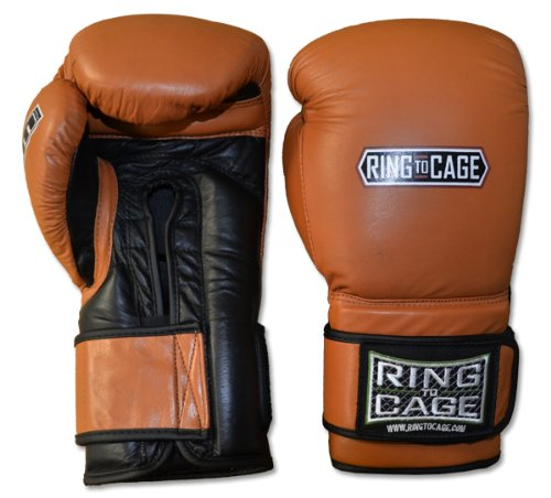 Ring to Cage Deluxe MiM-Foam Sparring Gloves - Safety Strap for Muay Thai, MMA, Kickboxing, Boxing (34oz)