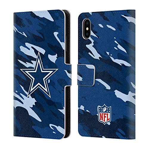 Official NFL Camou Dallas Cowboys Logo Leather Book Wallet Case Cover for iPhone Xs Max ()