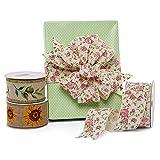 "Vintage Floral Shabby Chic Ribbon - 2 1/2"" x 10"