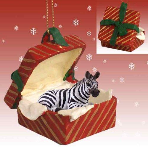 Zebra Red Gift Box Christmas Ornament
