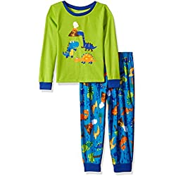 Komar Kids Boys' Dino Day 2pc Sleepwear Set, Verde azulado, 3T