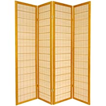 Oriental Furniture 6 ft. Tall Kimura Shoji Screen - 4 Panel - Honey