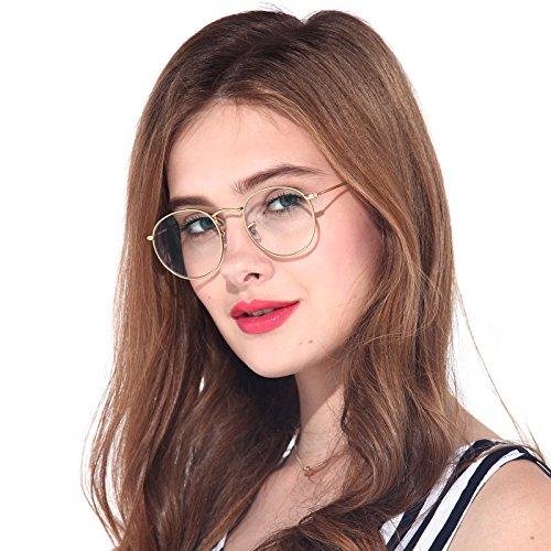- B.N.U.S Blue Light Filter Glasses Transparent Lens Anit Glare UV protection Anti Eye Fatigue Unisex Eyewear frames (Gold)