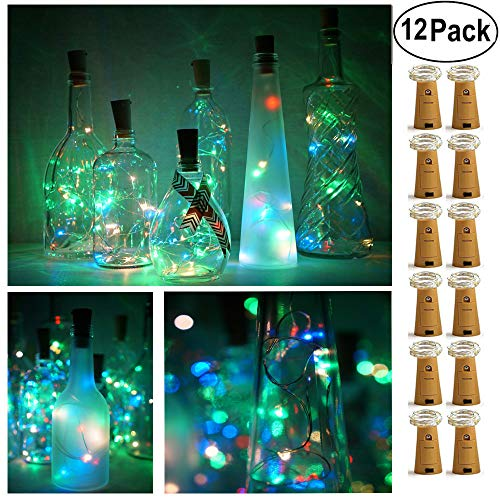 Decem Wine Bottle Lights with Cork 12 Pcs 15 LEDs Warm White Cork Shape Silver Copper Wire Battery Powered LED Fairy String Lights for DIY/Decor/Party/Wedding/Christmas/Halloween (4 Colors)