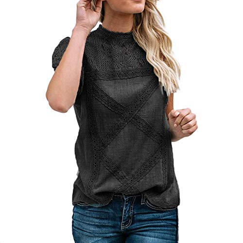 (Women Cotton Lace Breathable Cute Casual Blouse,Ladies Flare Ruffles Short Sleeve Floral Solid Shirt Tunic Top Sunmoot Black )
