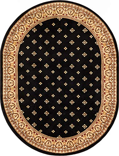 Noble Palace Black French European Formal Traditional Area Rug 5x7 (5'3