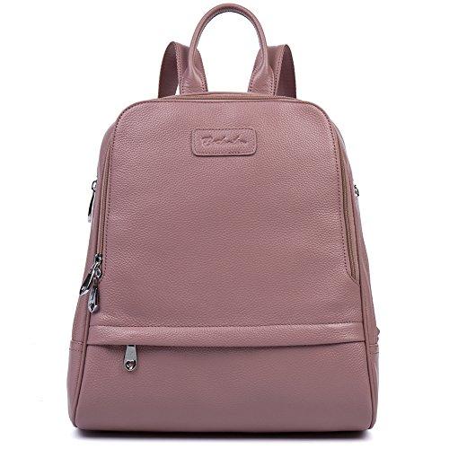 [BOSTANTEN Women Leather Backpack Purse Satchel Shoulder School Bags for College Pink Large] (Pink Soft Leather)