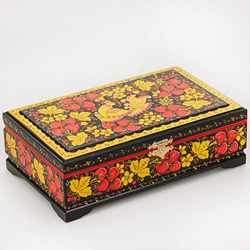 Beautiful Hand-painted Wooden Khokhloma Lacquer Box for J...
