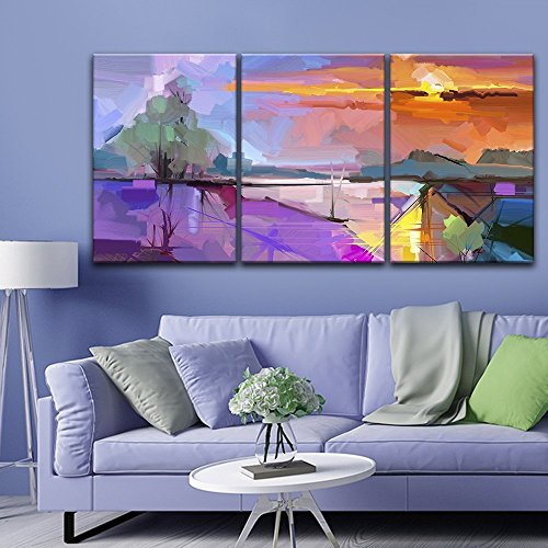 wall26-3 Panel Canvas Wall Art - Abstract Colorful Landscape - Giclee Print Gallery Wrap Modern Home Decor Ready to Hang - 36