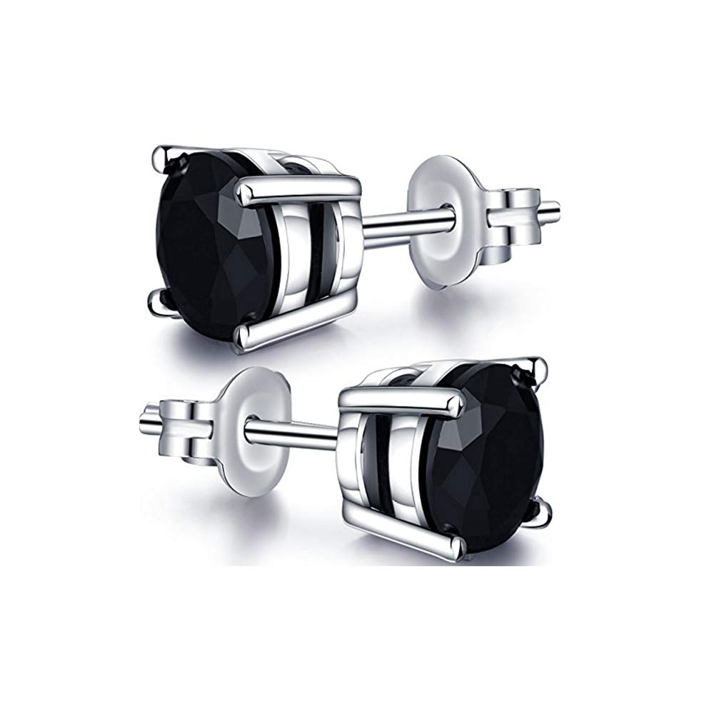 Brilliant 3mm To 10mm Round Cut .925 Sterling Silver 4-Prong Engagement Stud Earrings For Girls /& Womens