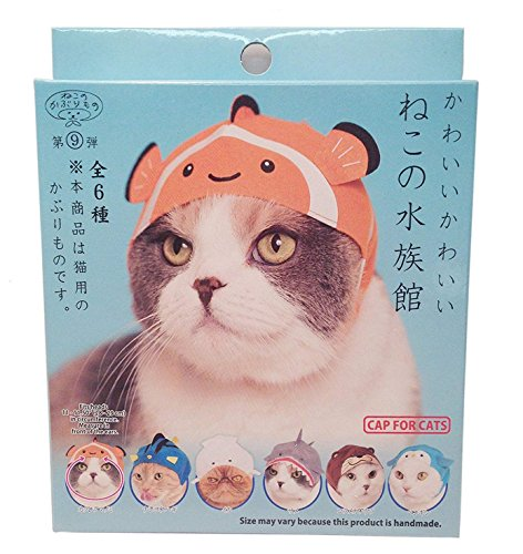 Kitan Club Cat Cap - Pet Hat Blind Box Includes 1 of 6 Cute Styles - Soft, Comfortable and Easy-to-Use Kitty Hood - Authentic Japanese Kawaii Design - Animal-Safe Materials, Premium Quality (Aquarium)