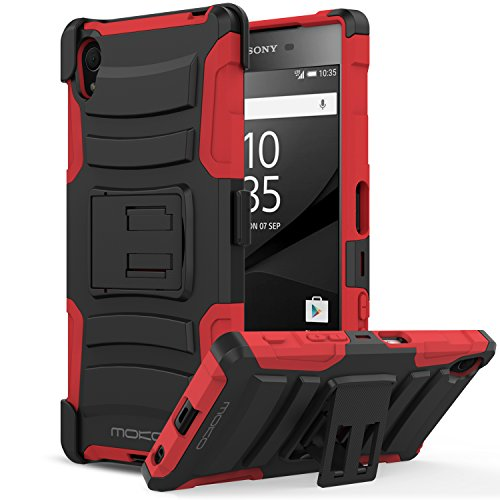 Sony Xperia Z5 Case, MoKo Shock Absorbing Hard Cover Ultra Protective Heavy Duty Case with Holster Belt Clip + Built-in Kickstand for Sony Xperia Z5 5.2 Inch (2015) - Red