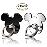 [Gift Choice] Kickstand Phone Ring Stand Holder 2 Pack (BLACK&SILVER) 360 Rotation Cell Phone Grip Universal Smartphone for Apple Iphone 7 Plus 6 6S 5 5S Samsung Galaxy Note, Tablet and Ipad pipigo