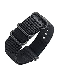 Nato Strap 20mm 22mm Premium Ballistic Nylon Military Watch Bands 5 Ring Black Swiss Zulu Straps Stainless Steel Buckle with Top Spring Bar Tool and 4 Spring Bars (22mm, Black)