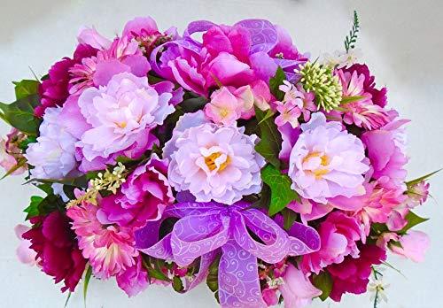 Amazing Cemetery Headstone Floral Saddle Arrangement
