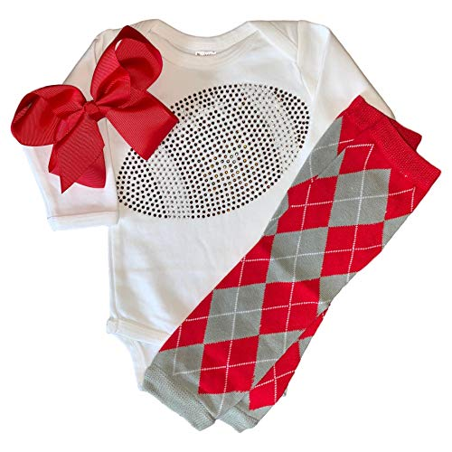 FanGarb Infant/Baby Girl's Rhinestone Football Outfit w/red and Grey Argyle Leg Warmers 12-18mo ()