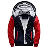 Men's Coats for Mens M-5XL Hoodie Winter Warm Fleece Zipper Coat,Parka (L,Red)