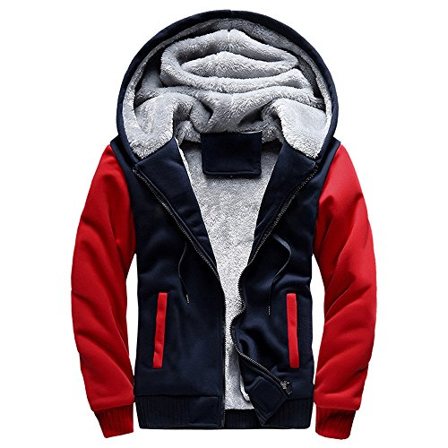 - Toimothcn Mens Faux Fur Lined Coat Winter Warm Fleece Hood Zipper Sweatshirt Jacket Outwear (Red,4XL)